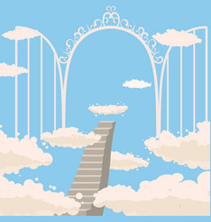 road stairs to heaven open gates of heaven sky vector image