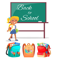 schoolgirl stand near blackboard back to school vector image