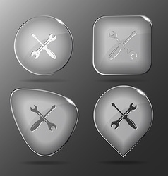 Screwdriver and spanner Glass buttons vector image