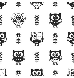Seamless pattern with black and white owls vector
