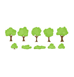 set abstract stylized trees vector image