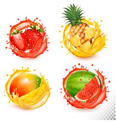 set fruit juice splash strawberry pineapple vector image
