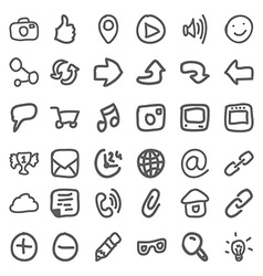 Set hand draw social icons vector