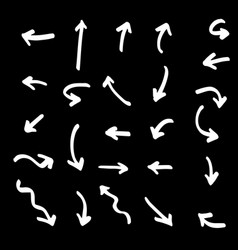 set hand drawn arrows doodle on black vector image