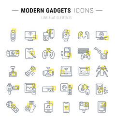 set line icons modern gadgets vector image