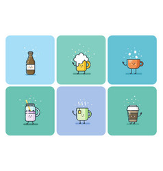 set of cold and hot drinks cute cartoon characters vector image vector image