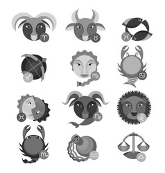 set of colorless astrology water air earth vector image