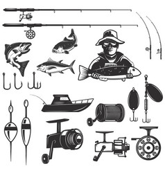 Set of fishing design elements isolated on white vector