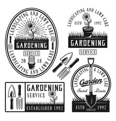 Set of gardening service stickers emblems vector