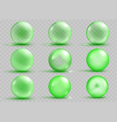 Set of transparent and opaque green spheres vector