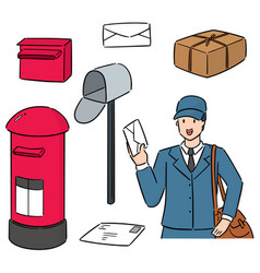 Set postman and postbox vector