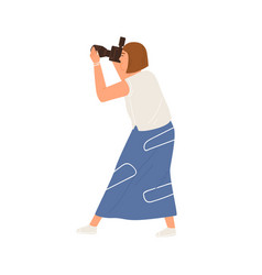side view professional female photographer vector image