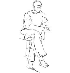 Sitting man vector image