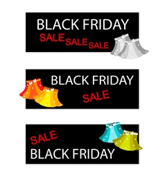 Skirts on Three Black Friday Sale Banners vector