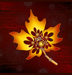 steampunk maple leaf image in sc vector image