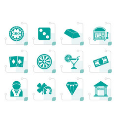 Stylized casino and gambling icons vector