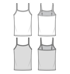 Tank top fashion flat sketch template vector