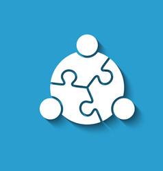 teamwork people puzzle logo design vector image