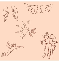 The Angels Pencil sketch by hand Vintage colors vector