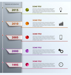Time line info graphic with colored tabs design vector