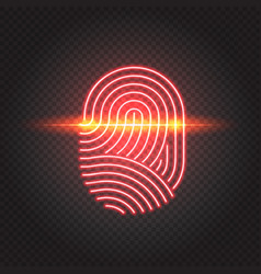 touch id neon icon fingerprint scanning vector image