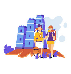 tourism sightseeing couple with backpacks ancient vector image