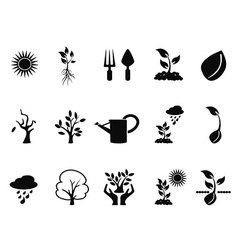tree sprout growing icons set vector image