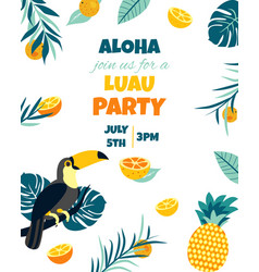 Tropical hawaiian poster with toucanparty template vector