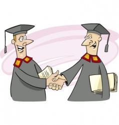 Two professors shaking hands vector
