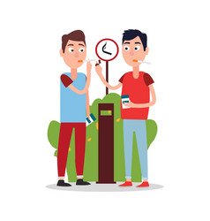 Two young smoking men color vector