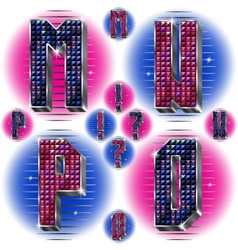 Volume letters MNOP with shiny rhinestones vector image