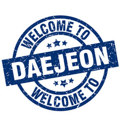 Welcome to daejeon blue stamp vector
