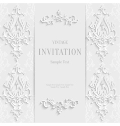 White Christmas Vintage Invitation Card vector image