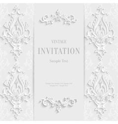 white christmas vintage invitation card vector image