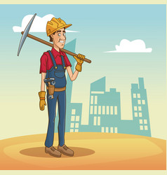 worker with tool on cityscape cartoon vector image