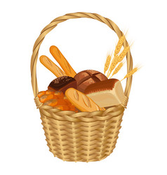 basket filled with baked goods realistic style vector image vector image