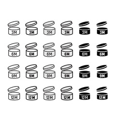 Expiration date after opened icons set round box vector
