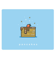 flat icon of pancakes with chocolate syrup and vector image