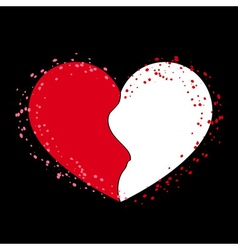 Halves heart icon on black 1 vector image vector image