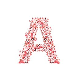 Romantic floral letter A vector image vector image