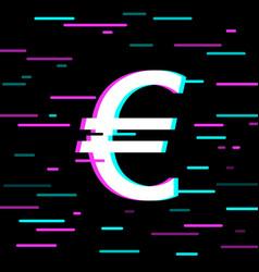single glitch icon on black background vector image