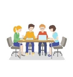 Team working Young people talking together vector image