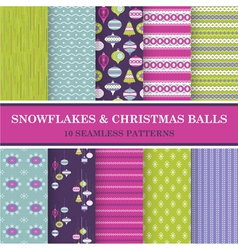 10 Seamless Patterns - Snowflakes and Xmas Balls vector image