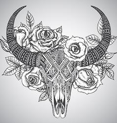 Decorative indian bull skull in tattoo tribal vector image vector image
