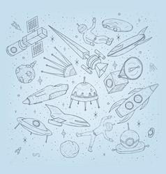 hand drawn cartoon space planetsshuttles rockets vector image vector image