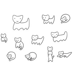 minimal funny kittens coloring page vector image
