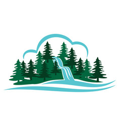 mountain waterfall vector image