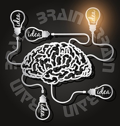 paper cut of brain and light bulbs with usb cables vector image vector image