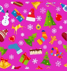 seamless pattern of christmas symbols vector image