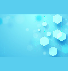 abstract blue geometric hexagons shape and lines vector image